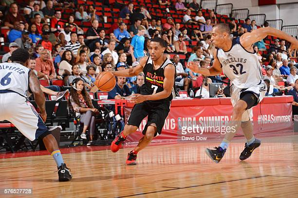 Bryce Cotton of the Atlanta Hawks handles the ball against the Memphis Grizzlies during the 2016 NBA Las Vegas Summer League game on July 15 2016 at...