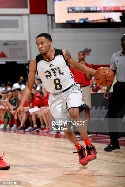 Bryce Cotton of the Atlanta Hawks handles the ball during the game against the Brooklyn Nets during the 2017 Las Vegas Summer League on July 7 2017...