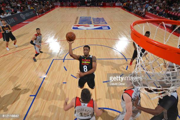 Bryce Cotton of the Atlanta Hawks shoots the ball against the Chicago Bulls during the 2017 Las Vegas Summer League on July 10 2017 at the Cox...