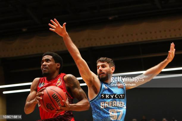 Bryce Cotton of the Perth Wildcats drives at the basket during the NBL Blitz preseason match between New Zealand Breakers and Perth Wildcats at...