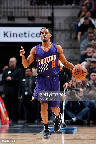 Bryce Cotton of the Phoenix Suns handles the ball during the game nio Spurs on December 30 2015 at the ATT Center in San Antonio Texas NOTE TO USER...