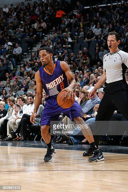 Bryce Cotton of the Phoenix Suns handles the ball during the game against the San Antonio Spurs on December 30 2015 at the ATT Center in San Antonio...