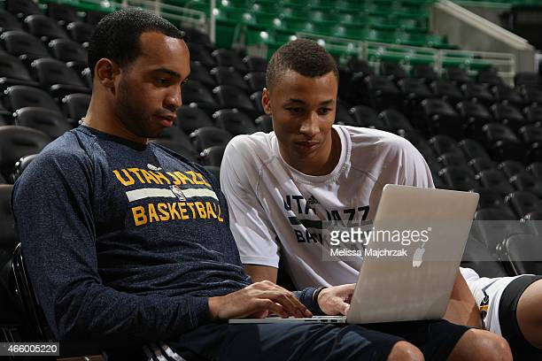 Bryce Cotton of the Utah Jazz and Dante Exum of the Utah Jazz before the game against the Houston Rockets on March 12 2015 at EnergySolutions Arena...