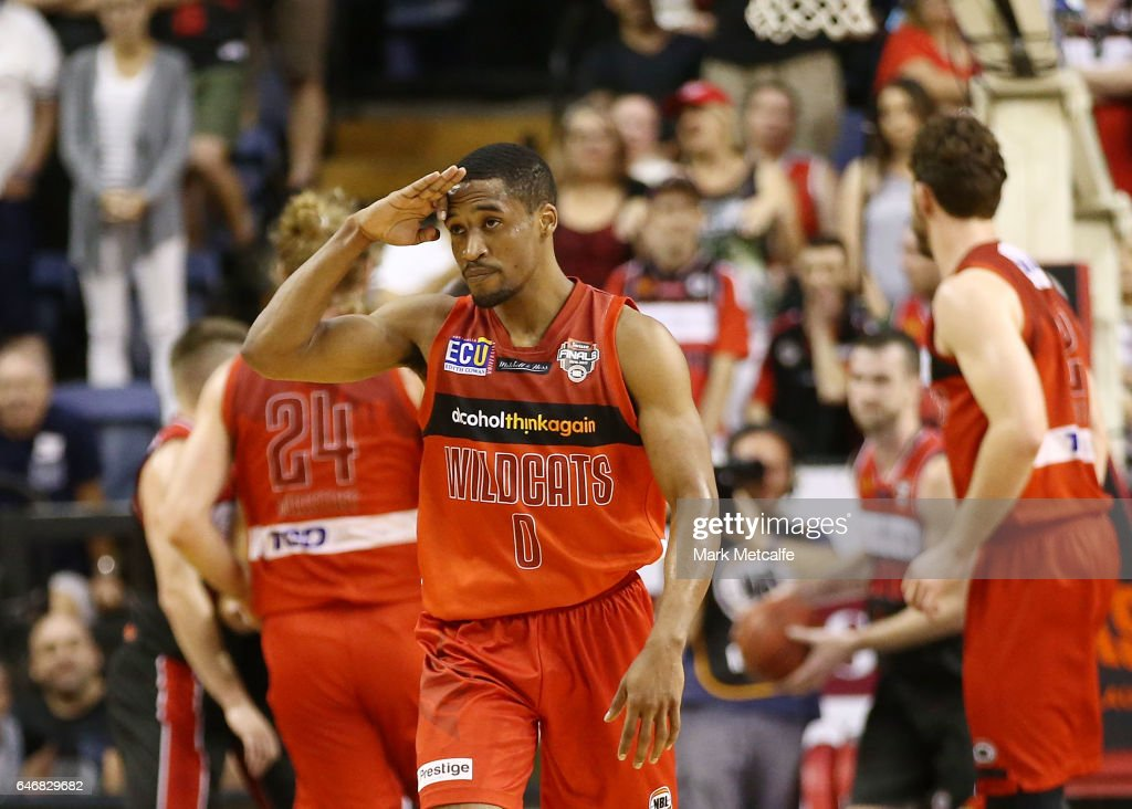 Bryce Cotton of the Wildcats celebrates a basket during game two of the NBL Grand Final series between the Perth Wildcats and the Illawarra Hawks at WIN Entertainment Centre on March 1, 2017 in Wollongong, Australia.
