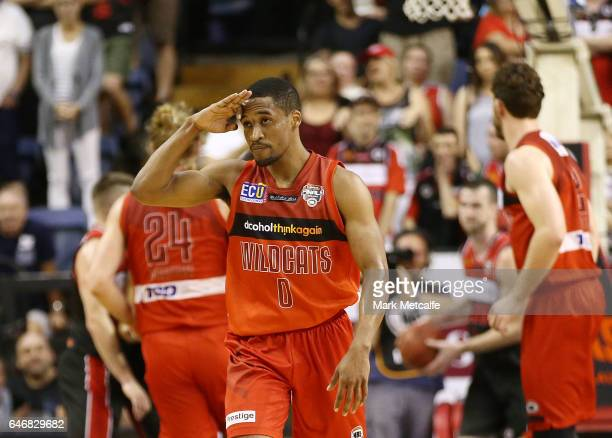 Bryce Cotton of the Wildcats celebrates a basket during game two of the NBL Grand Final series between the Perth Wildcats and the Illawarra Hawks at...