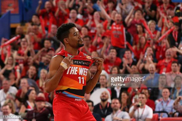 Bryce Cotton of the Wildcats celebrates after a 3 point shot during the round 15 NBL match between the Perth Wildcats and the Adelaide 36ers at Perth...
