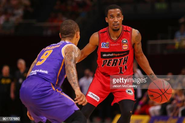 Bryce Cotton of the Wildcats dribbles the ball during the round 13 NBL match between the Sydney Kings and the Perth Wildcats at Qudos Bank Arena on...