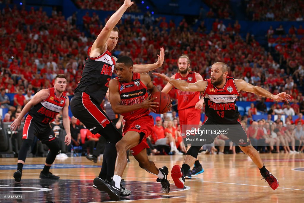 Bryce Cotton of the Wildcats drives to the basket during game three of the NBL Grand Final series between the Perth Wildcats and the Illawarra Hawks at Perth Arena on March 5, 2017 in Perth, Australia.