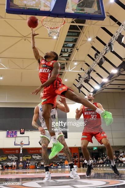 Bryce Cotton of the Wildcats drives to the basket during the NBL Cup match between the Perth Wildcats and the South East Melbourne Phoenix at State...
