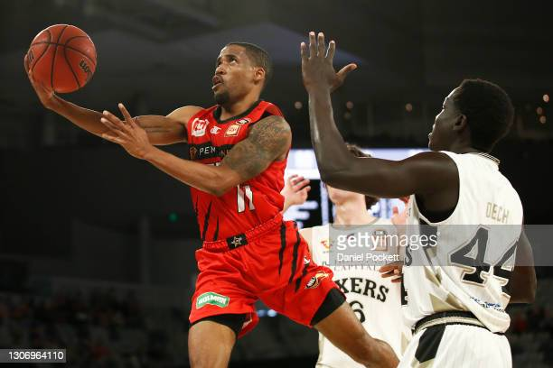 Bryce Cotton of the Wildcats drives to the basket during the NBL Cup match between the Perth Wildcats and the Adelaide 36ers at John Cain Arena on...
