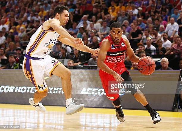 Bryce Cotton of the Wildcats drives to the basket during the round 14 NBL match between the Sydney Kings and the Perth Wildcats at Qudos Bank Arena...
