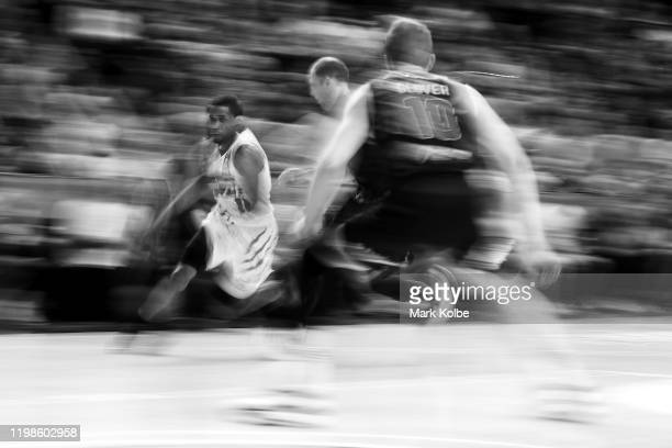 Bryce Cotton of the Wildcats drives to the basket to the round 15 NBL match between the Illawarra Hawks and the Perth Wildcats at the WIN...