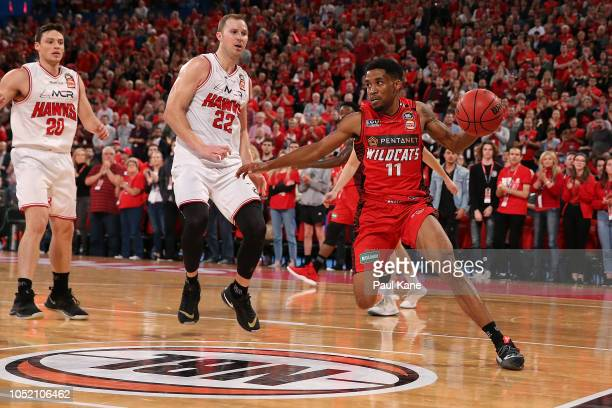 Bryce Cotton of the Wildcats drives to the keyway during the round one NBL match between the Perth Wildcats and the Illawarra Hawks at Perth Arena on...