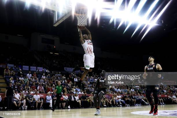 Bryce Cotton of the Wildcats dunks during the round 15 NBL match between the Illawarra Hawks and the Perth Wildcats at the WIN Entertainment Centre...