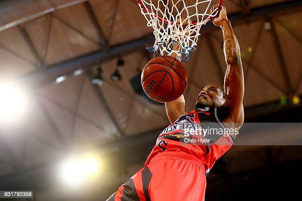 Bryce Cotton of the Wildcats dunks during the round 15 NBL match between the Cairns Taipans and the Perth Wildcats at Cairns Convention Centre on...