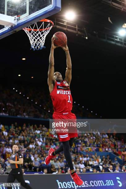 Bryce Cotton of the Wildcats dunks during the round seven NBL match between Brisbane and Perth at Brisbane Entertainment Centre on November 17 2017...