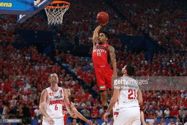 Bryce Cotton of the Wildcats dunks the ball during the round 16 NBL match between the Perth Wildcats and the Illawarra Hawks at RAC Arena on February...