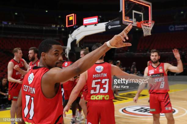 Bryce Cotton of the Wildcats farewells the Kings after winning game three of the NBL Grand Final series between the Sydney Kings and Perth Wildcats...