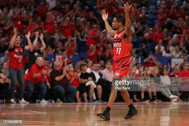 Bryce Cotton of the Wildcats fires the crowd up during game three of the NBL Semi Final Series between the Perth Wildcats and the Cairns Taipans at...