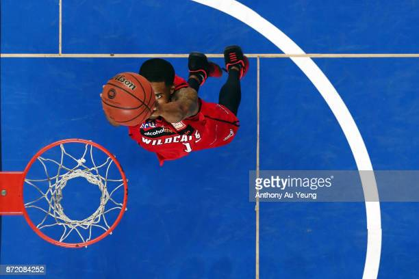 Bryce Cotton of the Wildcats goes for a dunk during the round six NBL match between the New Zealand Breakers and the Perth Wildcats at Spark Arena on...