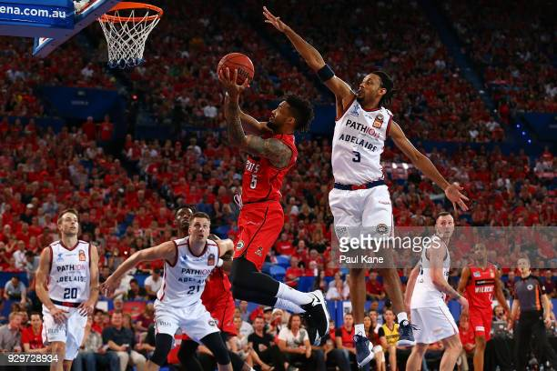 Bryce Cotton of the Wildcats lays up during game two of the NBL Semi Final series between the Adelaide 36ers and the Perth Wildcats at Perth Arena on...