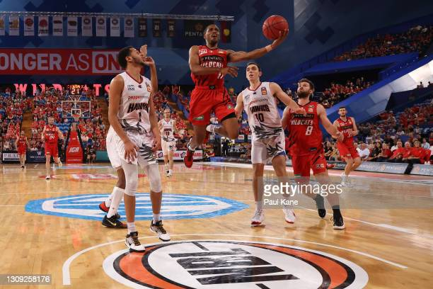Bryce Cotton of the Wildcats lays up during the round 11 NBL match between the Perth Wildcats and the Illawarra Hawks at RAC Arena on March 26, 2021...