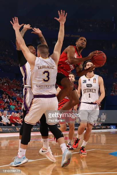 Bryce Cotton of the Wildcats lays up during the round 12 NBL match between the Perth Wildcats and the Sydney Kings at RAC Arena, on April 01 in...