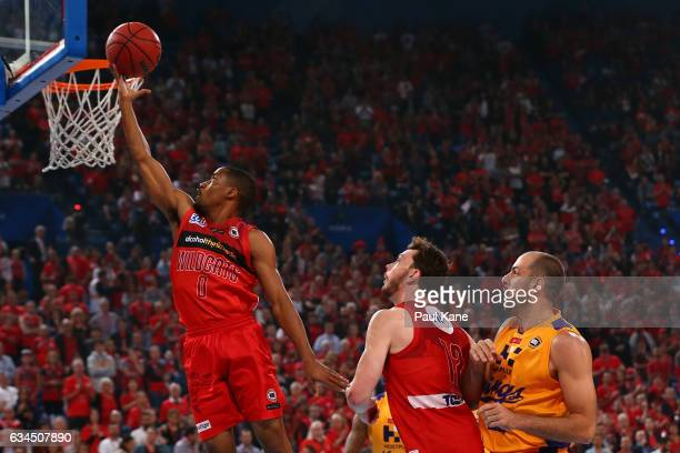 Bryce Cotton of the Wildcats lays up during the round 19 NBL match between the Perth Wildcats and the Sydney Kings at Perth Arena on February 10 2017...