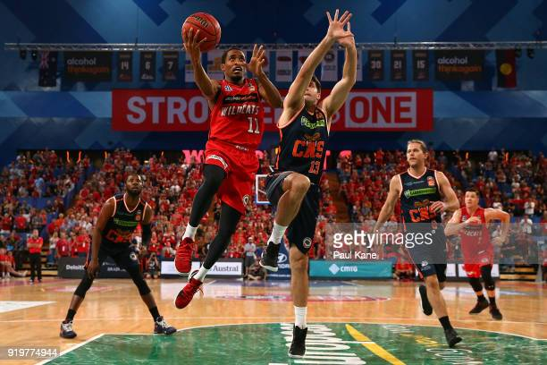 Bryce Cotton of the Wildcats lays up during the round 19 NBL match between the Perth Wildcats and the Cairns Taipans at Perth Arena on February 18...