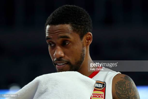 Bryce Cotton of the Wildcats looks on after the win during the NBL Cup match between the Cairns Taipans and the Perth Wildcats at John Cain Arena on...