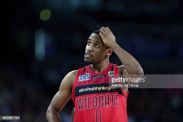 Bryce Cotton of the Wildcats looks on during the round 16 NBL match between the New Zealand Breakers and the Perth Wildcats at Vector Arena on...