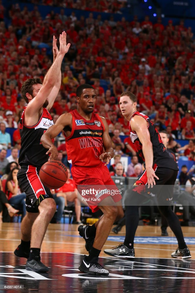 Bryce Cotton of the Wildcats passes the ball during game one of the NBL Grand Final series between the Perth Wildcats and the Illawarra Hawks at Perth Arena on February 26, 2017 in Perth, Australia.