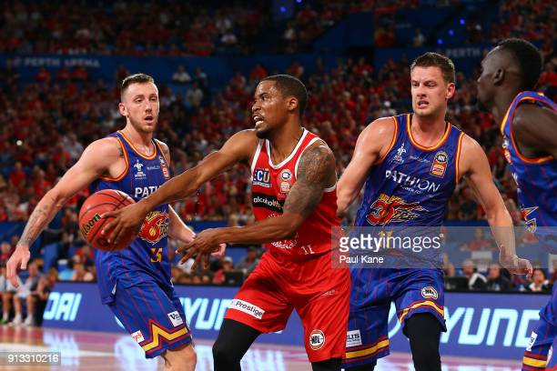 Bryce Cotton of the Wildcats passes the ball during the round 17 NBL match between the Perth Wildcats and the Adelaide 36ers at Perth Arena on...