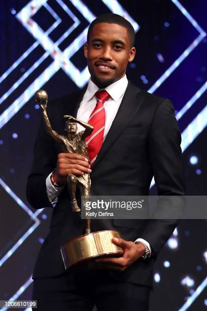 Bryce Cotton of the Wildcats poses with the award for Most Valuable Player for the 2019/20 NBL season during the 2020 Andrew Gaze MVP and Awards...