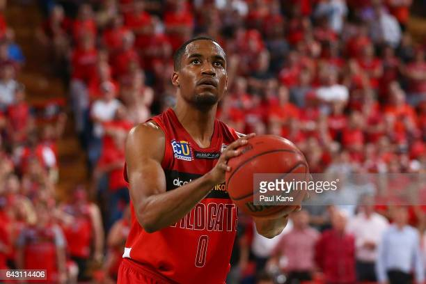 Bryce Cotton of the Wildcats prepares to shoot a free throw during the game two NBL Semi Final match between the Perth Wildcats and Cairns Taipans at...