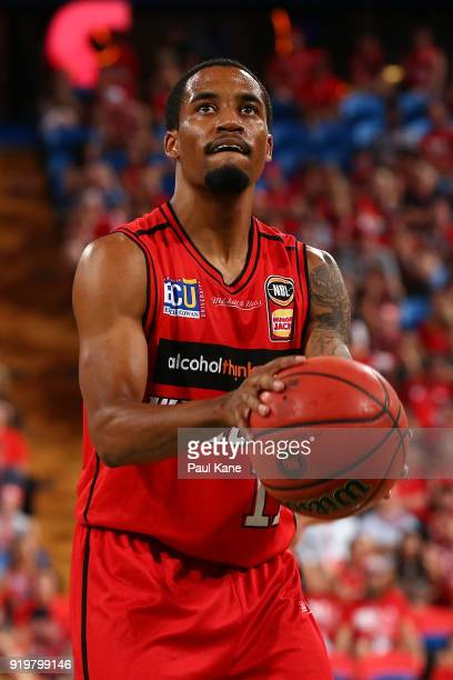 Bryce Cotton of the Wildcats prepares to shoot a free throw during the round 19 NBL match between the Perth Wildcats and the Cairns Taipans at Perth...