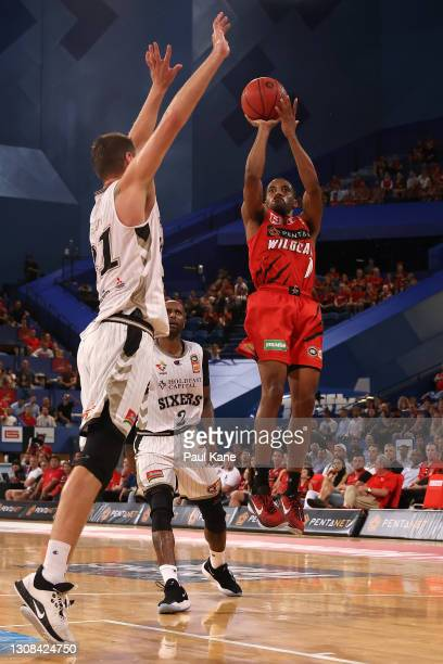 Bryce Cotton of the Wildcats puts a shot up against Daniel Johnson of the 36ers during the round 10 NBL match between the Perth Wildcats and the...