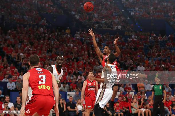 Bryce Cotton of the Wildcats puts a shot up during game one of the NBL Semi Finals Series between the Perth Wildcats and the Cairns Taipans at RAC...