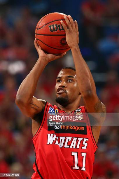Bryce Cotton of the Wildcats puts a shot up during game two of the NBL Semi Final series between the Adelaide 36ers and the Perth Wildcats at Perth...