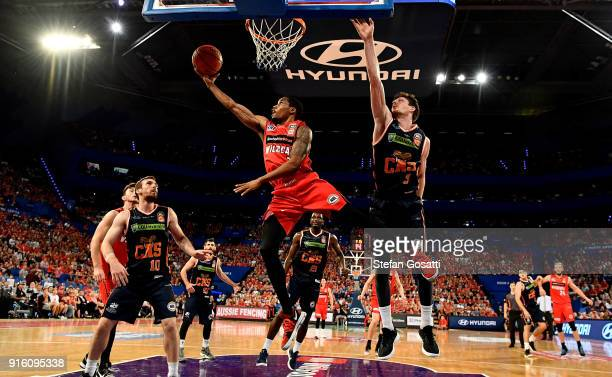 Bryce Cotton of the Wildcats puts a shot up during the round 18 NBL match between the Perth Wildcats and the Cairns Taipans at Perth Arena on...