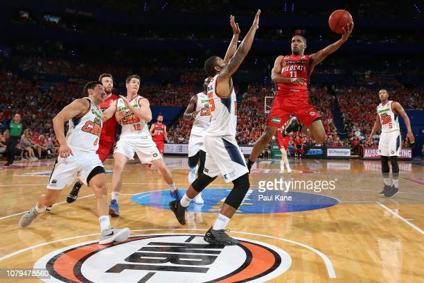 Bryce Cotton of the Wildcats puts a shot up during the round eight NBL match between the Perth Wildcats and the Cairns Taipans at RAC Arena on...