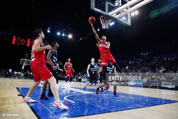 Bryce Cotton of the Wildcats puts up a shot during the round six NBL match between the New Zealand Breakers and the Perth Wildcats at Spark Arena on...