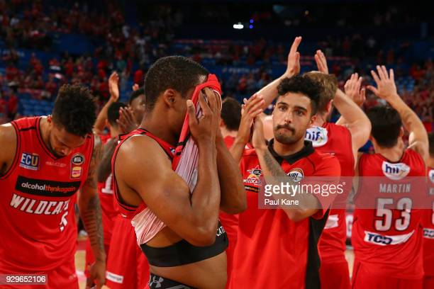 Bryce Cotton of the Wildcats reacts after being defeated during game two of the NBL Semi Final series between the Adelaide 36ers and the Perth...