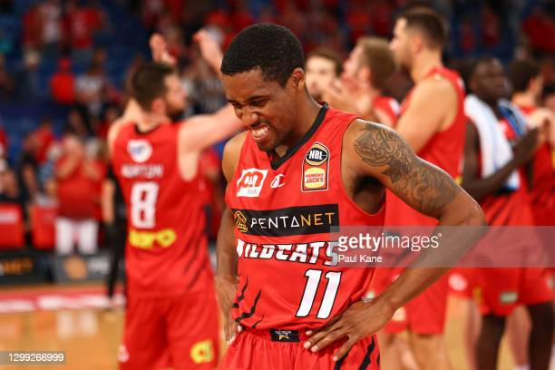Bryce Cotton of the Wildcats reacts after being defeated during the round three NBL match between the Perth Wildcats and the South East Melbourne...