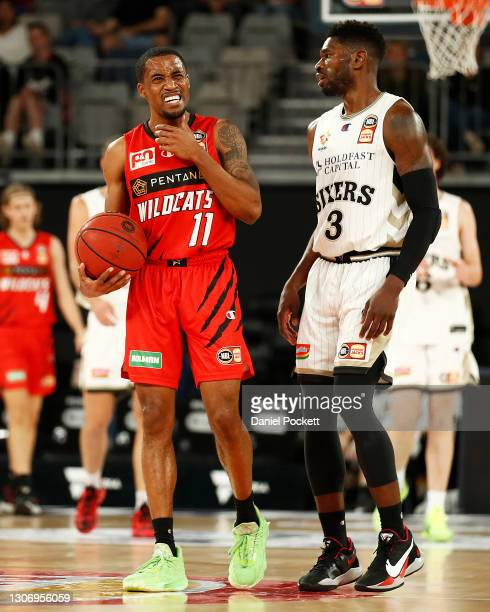 Bryce Cotton of the Wildcats reacts after being fouled by Brandan Paul of the 36ers during the NBL Cup match between the Perth Wildcats and the...