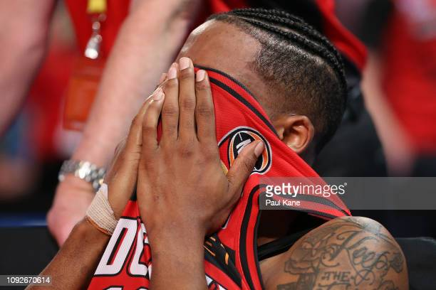 Bryce Cotton of the Wildcats reacts on the bench after being defeated during the round 13 NBL match between the Perth Wildcats and the Cairns Taipans...
