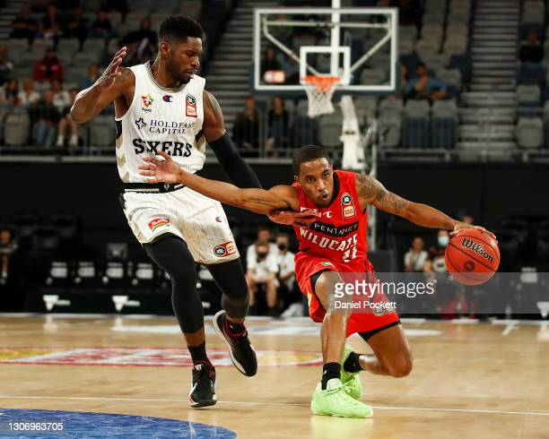 Bryce Cotton of the Wildcats runs with the ball during the NBL Cup match between the Perth Wildcats and the Adelaide 36ers at John Cain Arena on...
