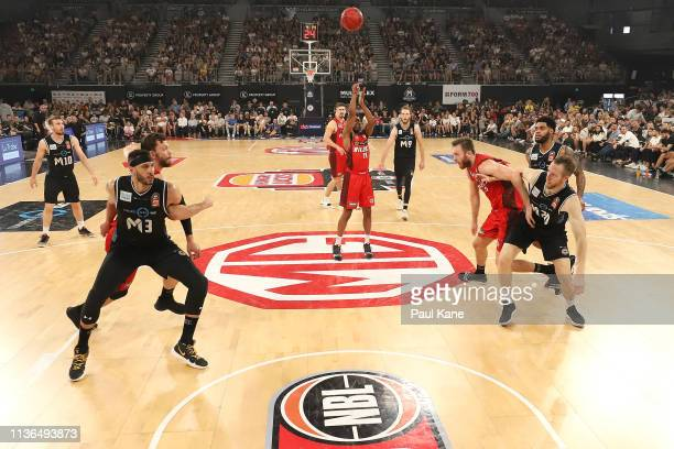 Bryce Cotton of the Wildcats shoots a free throw during game 4 of the NBL Grand Final Series between Melbourne United and the Perth Wildcats at...