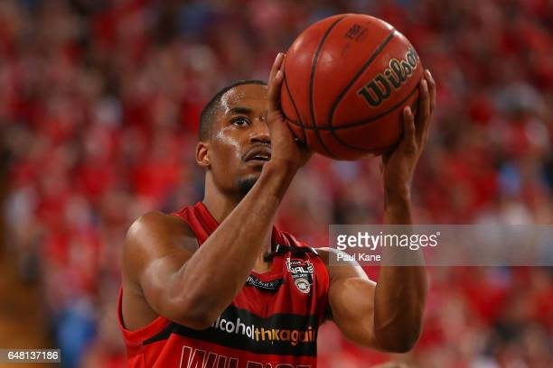 Bryce Cotton of the Wildcats shoots a free throw during game three of the NBL Grand Final series between the Perth Wildcats and the Illawarra Hawks...