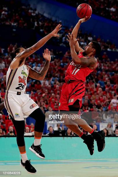 Bryce Cotton of the Wildcats shoots during game three of the NBL Semi Final Series between the Perth Wildcats and the Cairns Taipans at RAC Arena on...